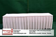 Rectangular Table with Ivory Skirting (2ft by 8ft) (Dimension.jpg