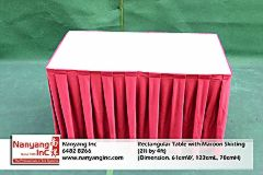 Rectangular Table with Maroon Skirting (2ft by 4ft) (Dimension.jpg