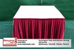 Rectangular Table with Maroon Skirting (4ft by 4ft) (Dimension.jpg