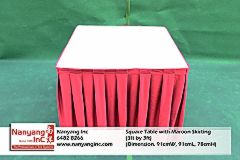 Square Table with Maroon Skirting (3ft by 3ft) (Dimension.jpg