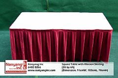 Square Table with Maroon Skirting (3ft by 6ft) (Dimension.jpg